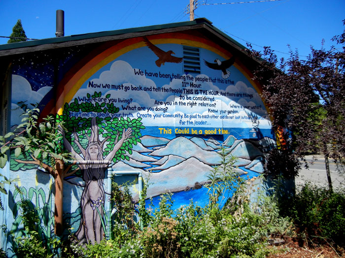 A mural located in downtown Covelo, California, exhorting people to be prepared and self-reliant as a time of difficulties is at hand.
