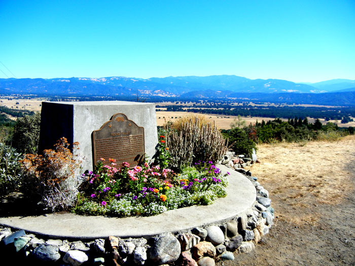 Monument at the Round Valley overlook near Covelo, California, site of the Alan Chadwick Garden