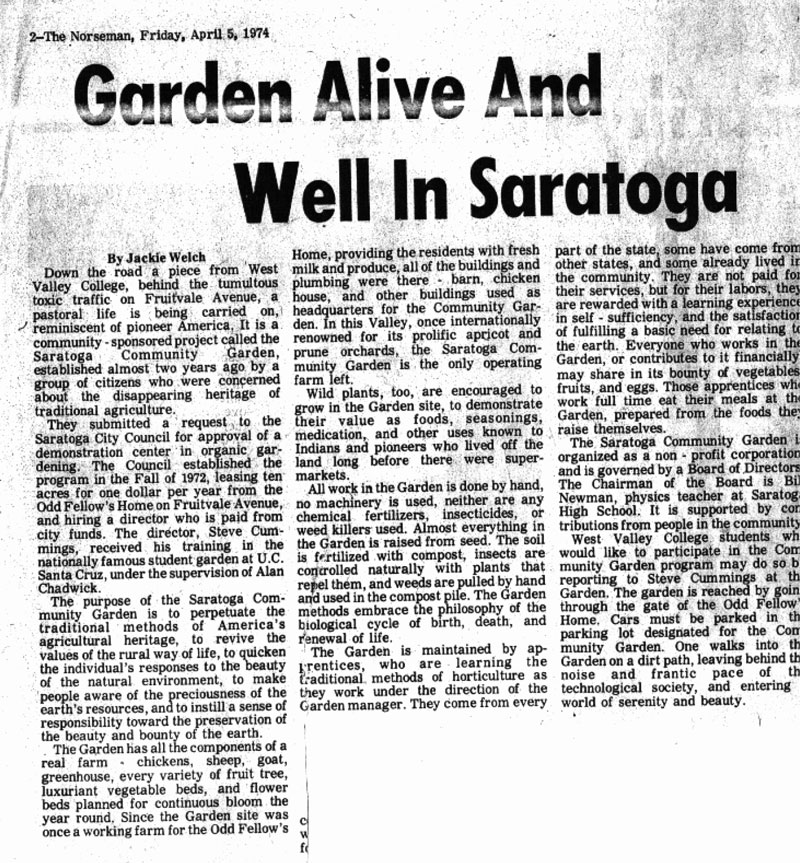 Description of the Saratoga Community Garden