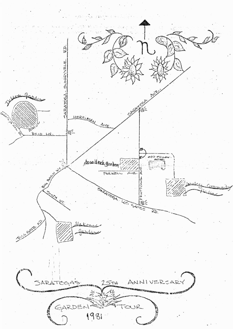 Garden tour information, Saratoga Community Garden, 1981, map