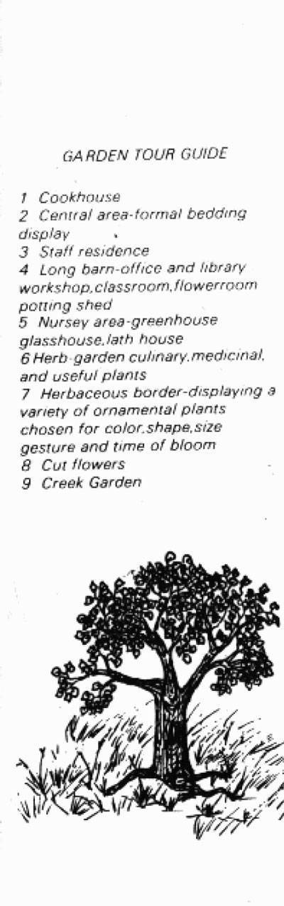 Garden tour information, Saratoga Community Garden, 1981, map legend part 1