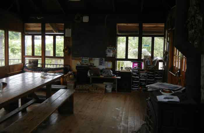 Interior of the cookhouse/dining hall at the UCSC Agroecology Farm