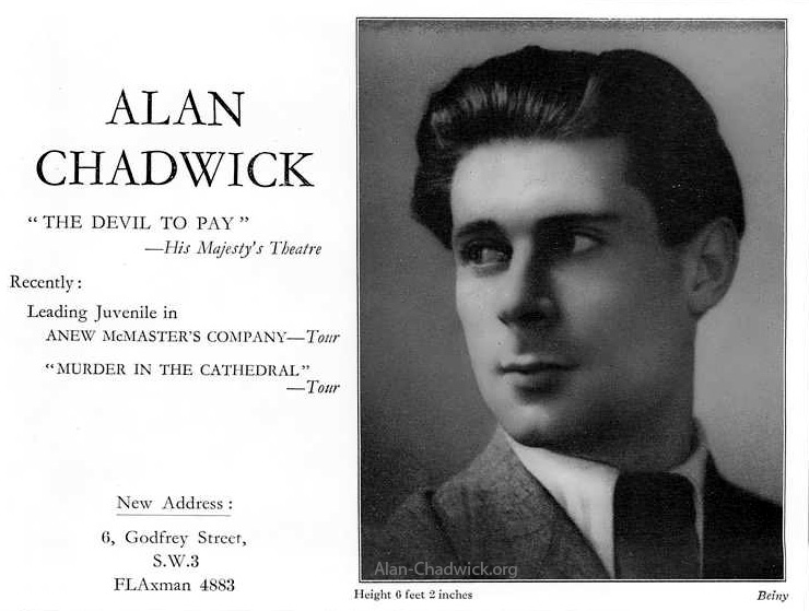 Alan Chadwick in a 1939 casting directory