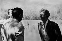 Ronald Reagan, Alan Chadwick, and Richard Wilson in conversation at Covelo, California, 1974